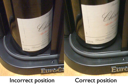 Correct and incorrect bottle position